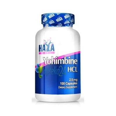 Haya Labs Yohimbine HCL 2.5 mg. 100 capsules / Хая Лабс Йохимбин Хидрохлорид 2.5 мг. 100 капсули