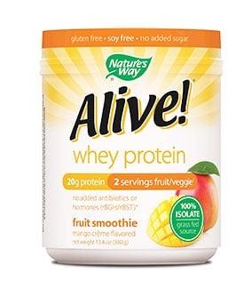 Alive whey protein mango creme flavored 380 g. Nature's Way / Алайв суроватъчен протеин изолат манго 380 гр. Nature's Way