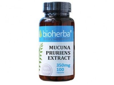 Bioherba Mucuna pruriens extract 350 mg. 100 capsules / Биохерба Мукуна пруриенс (Кадифен боб) 350 мг. 100 капсули