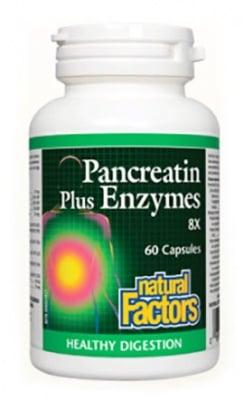 Pancreatin plus enzymes 363 mg. 60 capsules Natural Factors / Панкреатин плюс ензими 363 мг. 60 капсули Натурал Факторс