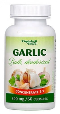 Garlic Bulb Deodorized 500 mg. 60 capsules Phyto Wave / Чесън Део 500 мг. 60 броя капсули. Фито Уейв