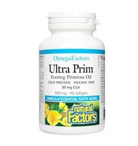 Ultra prim evening primrose oil 500 mg. 90 capsules Natural factors / Масло от вечерна иглика 500 мг. 90 капсули Натурал факторс.