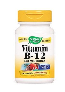 Vitamin B12 lozenges 2000 mcg. 100 capsules Nature's Way / Витамин В12 сублингвални таблетки 2000 мкг. 100 броя таблетки Nature's Way