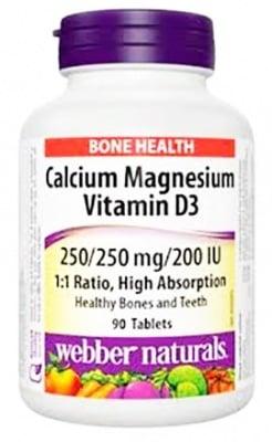 Calcium Magnesium and Vitamin D3 90 tablets Webber Naturals / Калций, Магнезий и Витамин Д3 90 броя таблетки 250/250 мг./200 IU Webber Naturals