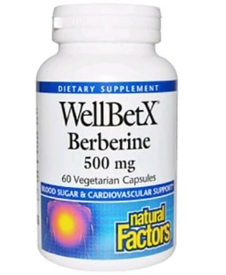 Well Bet X Berberine 500 mg. 60 capsules Natural Factors / Берберин 500 мг. 60 капсули Натурал Факторс