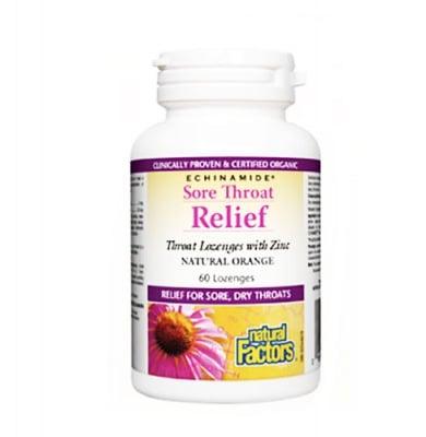 Sore throat relief natural cherry 60 lozenges Natural factors / Здраво гърло 60 таблетки за смучене Натурал факторс