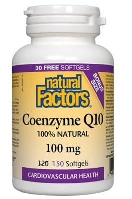 Coenzyme Q10 100 mg 150 softgels Natural Factors / Коензим Q10 100 мг. 150 капсули Натурал Факторс