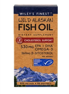 Wiley`s finest wild alaskan fish oil omega-3 cholesterol support 800 mg 90 capsules / Рибено масло омега-3 за поддържане нивата на холестерол 800 мг 90 капсули Wiley`s finest