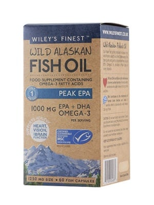 Wiley`s finest wild alaskan fish oil omega-3 peak EPA 1250 mg 60 capsules / Рибено масло омега-3 EPA 1250 mg 60 капсули Wiley`s finest