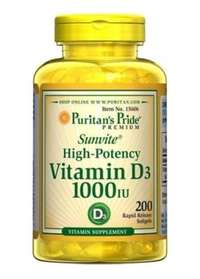 Puritan's Pride Vitamin D3 1000 IU 200 capsules / Пуританс Прайд Витамин Д3 1000 IU 200 капсули