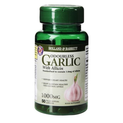 Odourless Vegan Garlic with Allicin 1000 mg 50 capsules Holland & Barrett / Чесън без мирис веган с Алицин 1000 мг 50 капсули Holland & Barrett