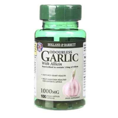 Odourless vegan Garlic with Allicin 1000 mg 100 capsules Holland & Barrett / Чесън без мирис веган с Алицин 1000 мг 100 капсули Holland & Barrett