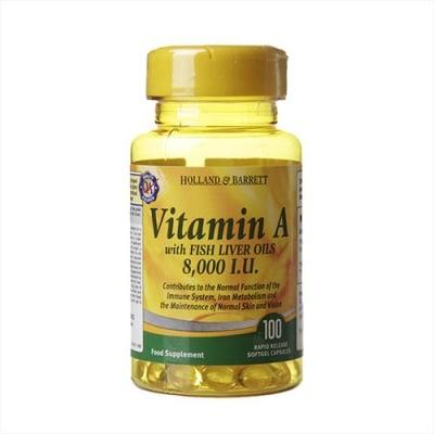Vitamin A with fish liver oils 8000 I.U. 100 capsules Holland & Barrett / Витамин А с рибено масло 8000 I.U. 100 капсули Holland & Barrett
