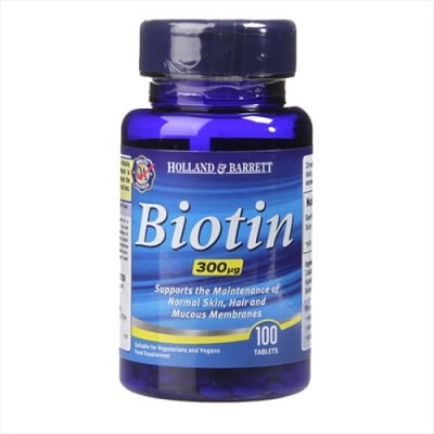 Biotin (Vitamin B7) 300 mcg 100 tablets Holland & Barrett / Биотин (Витамин Б7) 300 мкг 100 таблетки Holland & Barrett