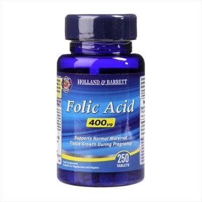 Folic acid 400 mcg 250 tablets Holland & Barrett / Фолиева киселина 400 мкг 250 таблетки Holland & Barrett