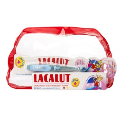 Lacalut set for kids 0-4 - toothpaste + toothbrush / Лакалут комплект за деца над до 4 г. - паста за зъби + четка за зъби