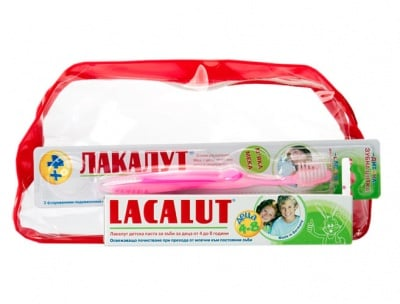 Lacalut set for kids 4-8 - toothpaste + toothbrush / Лакалут комплект за деца 4-8 г. паста за зъби + Четка за зъби