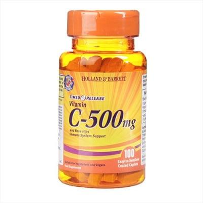 Vitamin C with timed release 500 mg 100 caplets Holland & Barrett / Витамин Ц с удължено освобождаване 500 мг 100 каплети Holland & Barrett