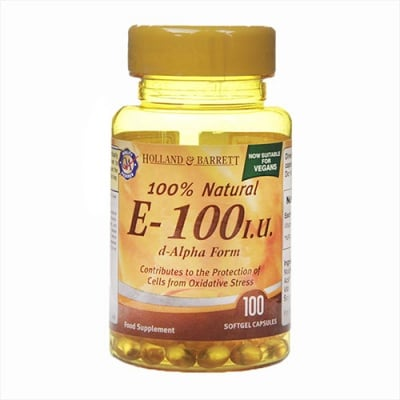 Vitamin E 100 I.U. 100 capsules Holland & Barrett / Витамин Е 100 I.U. 100 капсули Holland & Barrett