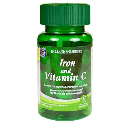 Iron & vitamin C 30 tablets Holland & Barrett / Желязо + Витамин Ц 30 таблетки Holland & Barrett