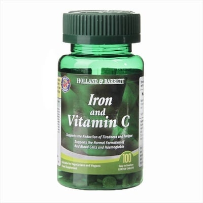 Iron & vitamin C 100 tablets Holland & Barrett / Желязо + Витамин Ц 100 таблетки Holland & Barrett