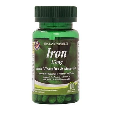Iron 15 mg with vitamins & minerals 100 caplets Holland & Barrett / Желязо 15 мг с витамини и минерали 100 каплети Holland & Barrett