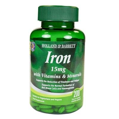 Iron 15 mg with vitamins & minerals 200 caplets Holland & Barrett / Желязо 15 мг с витамини и минерали 200 каплети Holland & Barrett