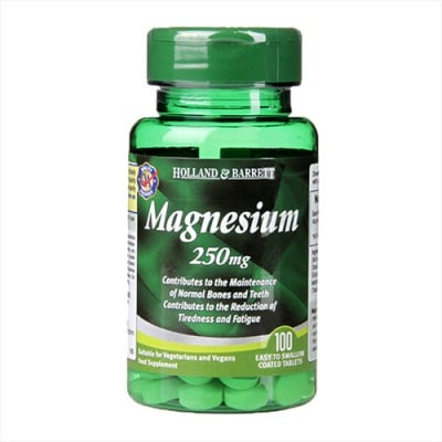 Magnesium 250 mg 100 tablets Holland & Barrett / Магнезий  250 мг 100 таблетки Holland & Barrett