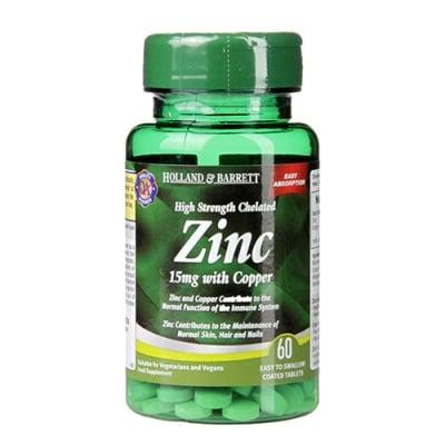 High strength chelated zinc 15 mg with copper 60 tablets Holland & Barrett / Хелатиран цинк 15 мг с мед 60 таблетки Holland & Barrett