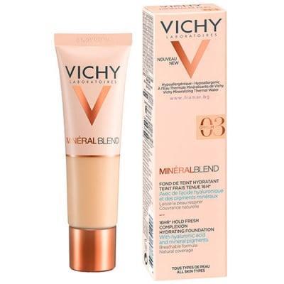 Vichy Mineralblend complexion hydrating fouddation 03 gypsum 30 ml / Виши Минералбленд фон дьо тен 03 джипсъм 30 мл