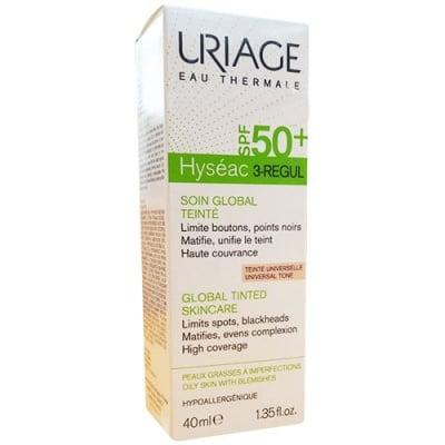Uriage Hyseac 3 regul cream for combination skin with imperfections SPF 50+ tinted 40 ml / Уриаж Hyseac 3 regul крем за комбинирана кожа с несъвършенства SPF 50+ с цвят 40 мл