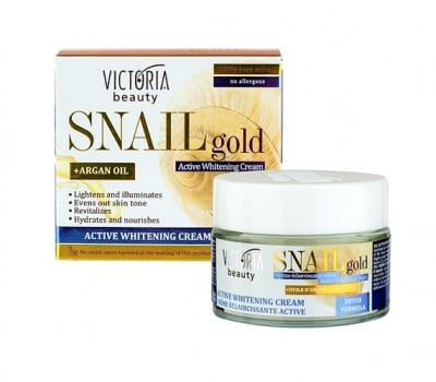 Victoria Beauty snail gold active whitening cream 50 ml / Виктория Бюти Снейл Голд избелващ дневен крем с екстракт от охлюв 50 мл