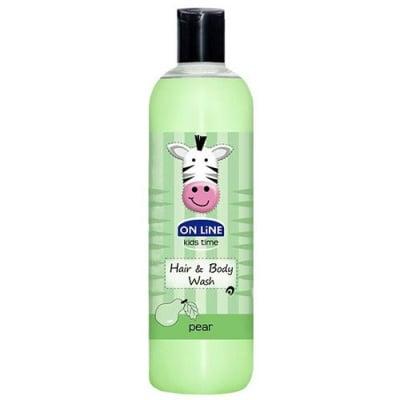 Online kids shampoo & shower gel with pear aroma 500 ml / Онлайн кидс шампоан и душ гел 2 в 1 с аромат на круша 500 мл