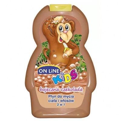 Online kids shampoo and body wash chocolate 250 ml / Онлайн кидс шампоан и душ-гел 2 в 1 шоколад 250 мл