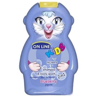 Online kids shampoo & body wash blueberry 250 ml / Онлайн кидс шампоан и душ гел 2 в 1 боровинка 250 мл
