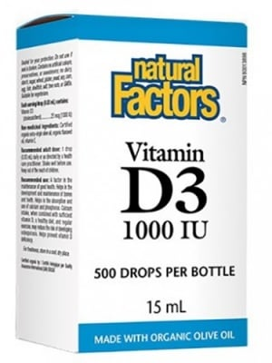 Vitamin D3 1000 IU 15 ml. Natural Factors / Витамин Д3 течен 1000 IU 15 мл. Натурал Факторс