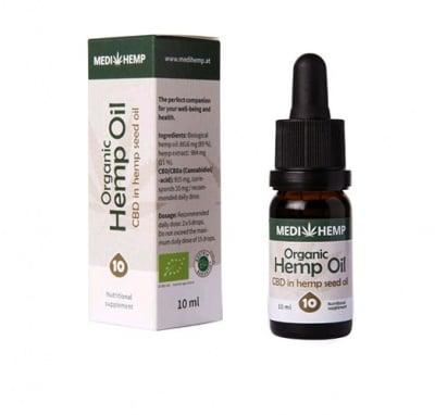 Organic hemp oil 10% canabidiol 10 ml. / Био масло от коноп с 10% канабидиол 10 мл.