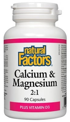 Calcium and Magnesium + Vitamin D3 90 capsules Natural Factors / Калций и Магнезий + Витамин Д3 90 капсули Натурал Факторс