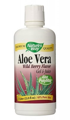 Aloe Vera leaf wild berry flavor gel and juice 65% 1 liter Nature's Way / Алое Вера гел и сок плодов 65% 1 литър Nature's Way