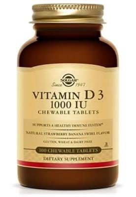 Vitamin D3 1000 IU 100 chewable tablets Solgar / Витамин Д3 1000 IU 100 дъвчащи таблетки Солгар