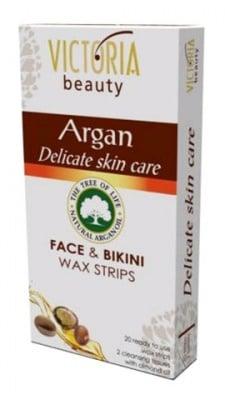 Victoria Argan face and bikini wax strips 20 / Виктория бюти Депилиращи ленти за лице и бикини зона с Арган 20 броя