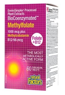 Folic acid (Methylfolate) 1000 mcg + Vitamin B 12 50 mcg 60 sublingual tablets Natural Factors / Фолиева киселина (Метилфолат) 1000 мкг. + Витамин Б 12 50 мкг. 60 сублингвални таблетки Натурал Факторс