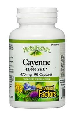 Cayenne 470 mg 90 capsules Natural Factors / Лют червен пипер 470 мг. 90 капсули Натурал Факторс