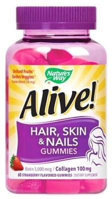 Alive Hair, Skin & Nails 60 gummies Nature's Way / Алайв Коса, Кожа и Нокти Гъми 60 броя таблетки Nature's Way