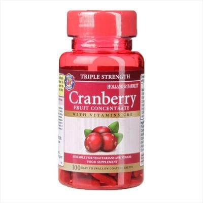 Cranberry triple strenght with vitamins C & E 100 tablets Holland & Barrett / Червена боровинка тройна сила с витамини С и Е 100 таблетки Holland & Barrett