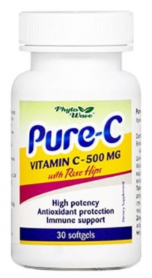 Pure - C Vitamin C with Rose hips 30 capsules Phyto Wave / Витамин Ц + Шипка 30 капсули Phyto Wave