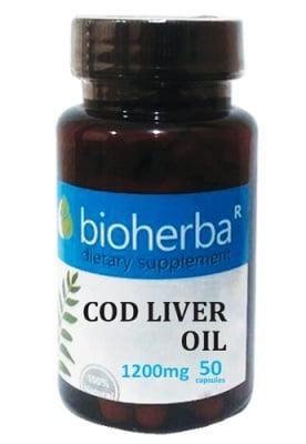 Bioherba cod liver oil 50 capsules / Биохерба Масло от черен дроб на треска 50 капсули