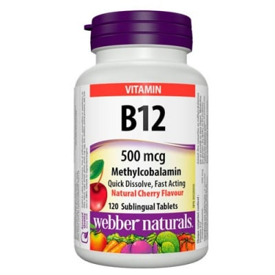 Vitamin B12 Methylcobalamin 500 mcg 120 sublingual tablets Webber Naturals / Витамин Б12 Метилкобаламин с аромат на череша 500 мкг. 120 сублингвални таблетки Уебър Натуралс
