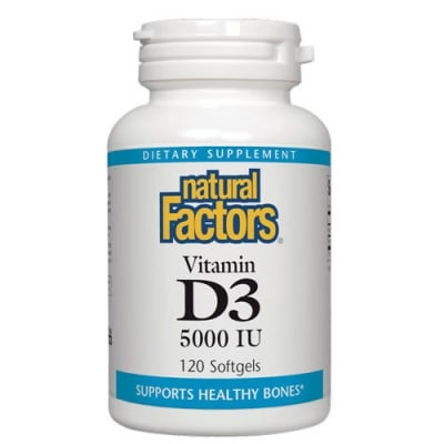 Vitamin D3 5000 IU 120 softgels Natural Factors / Витамин Д3 5000 IU 120 меки капсули Натурал Факторс
