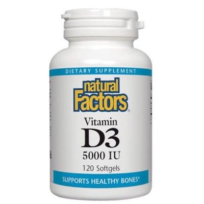 Vitamin D3 5000 IU 120 softgels Natural Factors / Витамин Д3 5000 IU 120 меки капсули Натурал Факторс